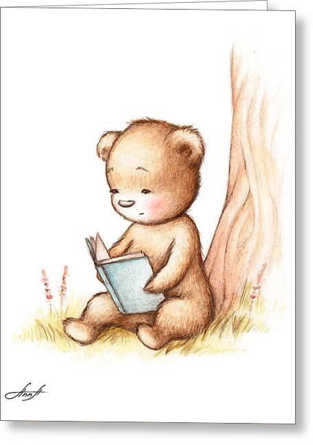 Drawing Of Teddy Bear Reading A Book Under Tree Greeting Card by Anna Abramska