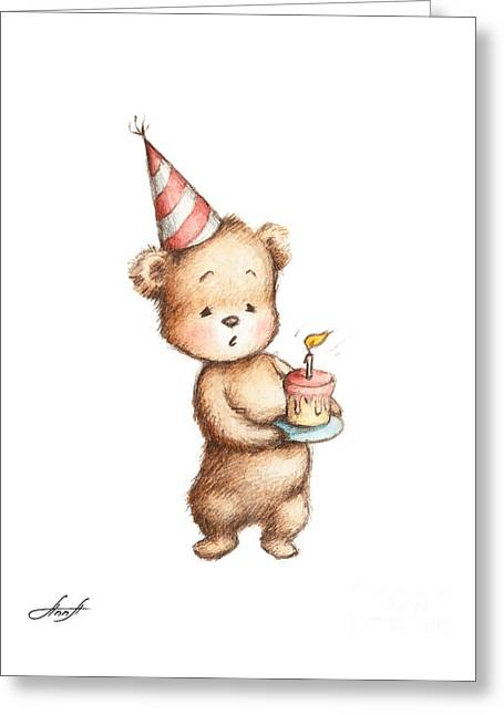 Drawing Of Teddy Bear With Birthday Cake Greeting Card by Anna Abramska