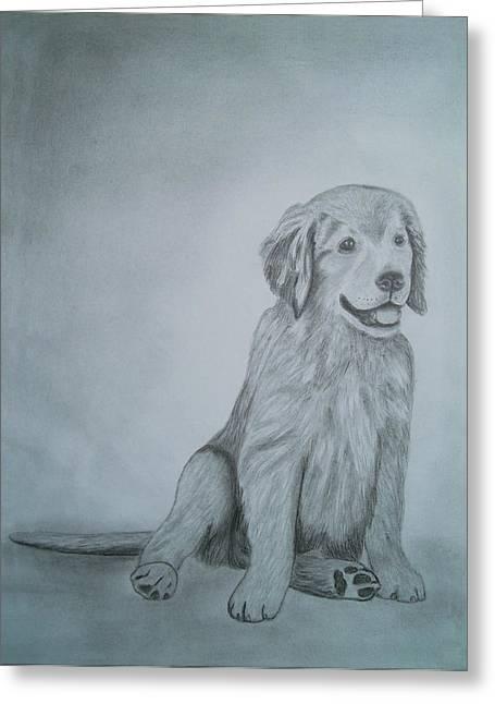 Wildlife Genre Greeting Cards - Drawings Portrait Artwork of a Little Dog   Greeting Card by Luigi Carlo