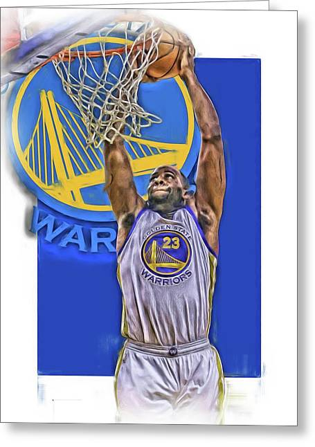 Draymond Green Golden State Warriors Oil Art Greeting Card by Joe Hamilton