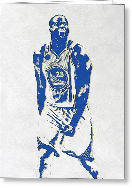 Draymond Green Golden State Warriors Pixel Art Greeting Card by Joe Hamilton