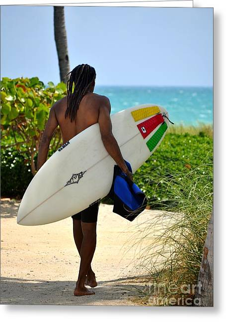 Dreadlocks Surfer Dude Greeting Card by Rene Triay Photography