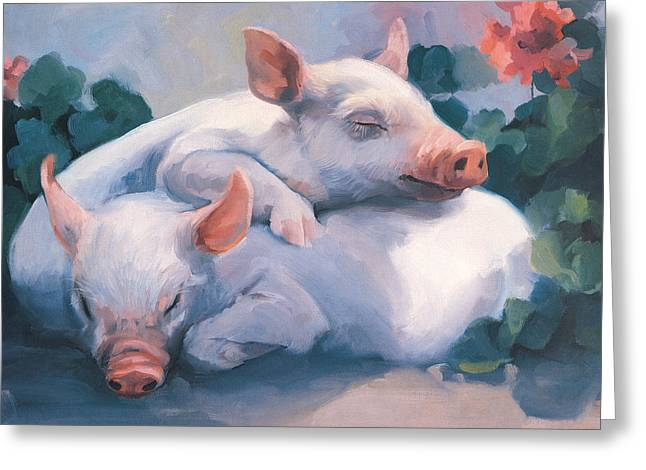 Dream Away Piglets Greeting Card