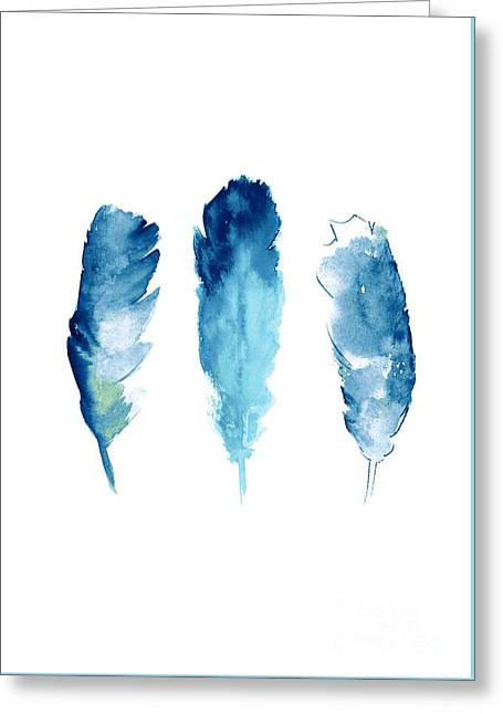 Dream Catcher Feathers Painting Greeting Card by Joanna Szmerdt
