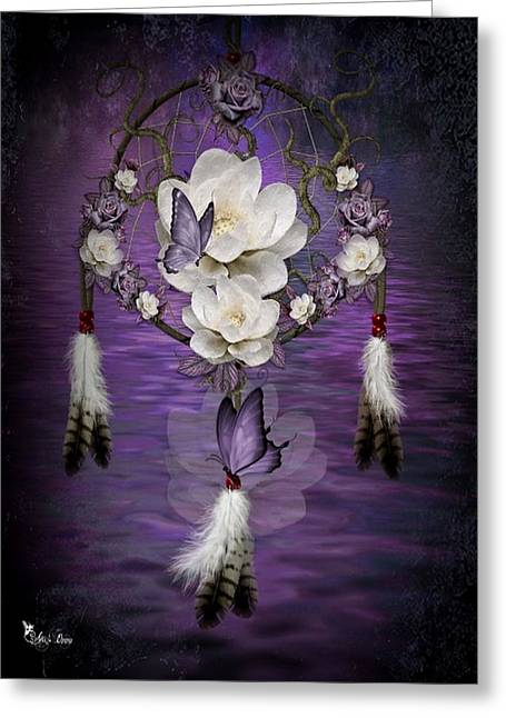 Dream Catcher Purple Flowers Greeting Card