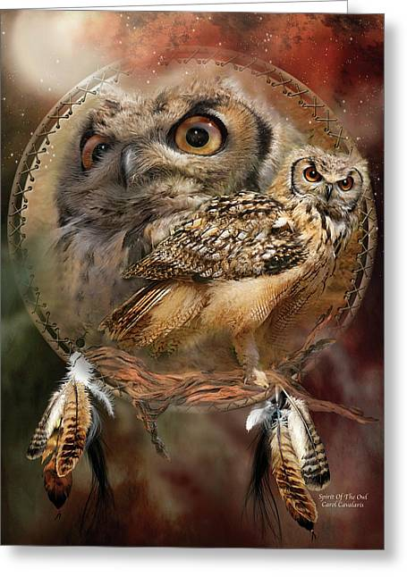 Dream Catcher - Spirit Of The Owl Greeting Card by Carol Cavalaris