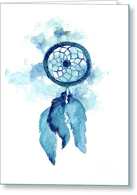 Dream Catcher Watercolor Art Print Painting Greeting Card by Joanna Szmerdt