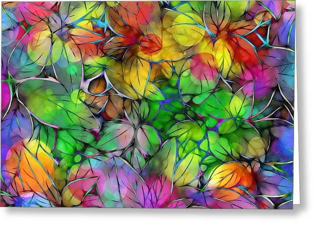 Greeting Card featuring the digital art Dream Colored Leaves by Klara Acel