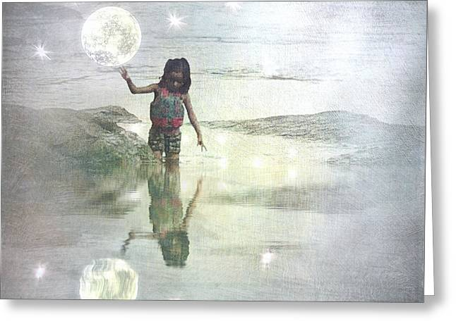 To Touch The Moon Greeting Card by Melissa D Johnston