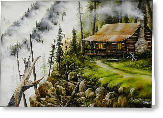 Mountain Cabin Greeting Cards - Dream Home Greeting Card by David Paul