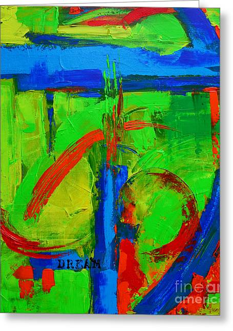 Dream In Green Modern Abstract Art Greeting Card by Patricia Awapara