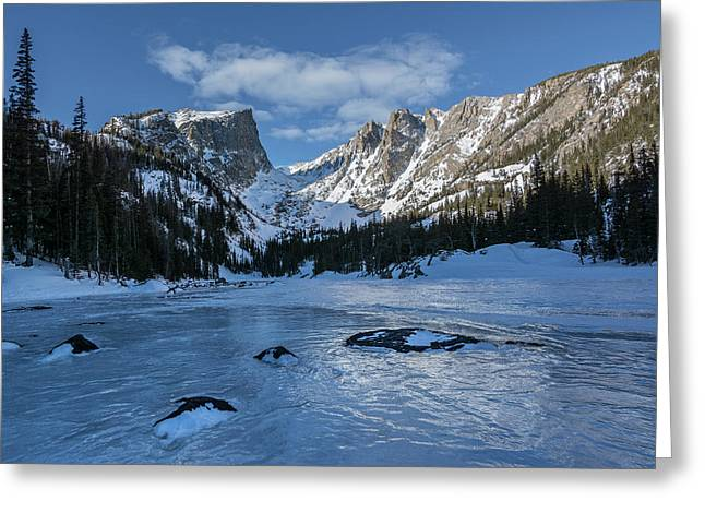 Greeting Card featuring the photograph Dream Lake Morning by Aaron Spong