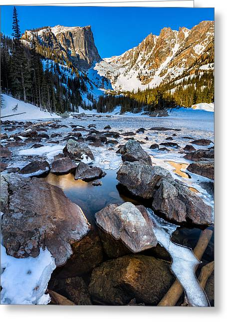 Dream Lake Sunrise Greeting Card by Andres Leon