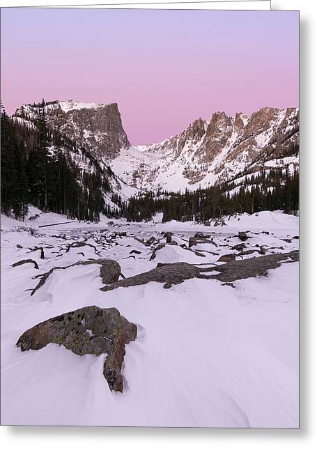 Greeting Card featuring the photograph Dream Lake Winter Vertical by Aaron Spong