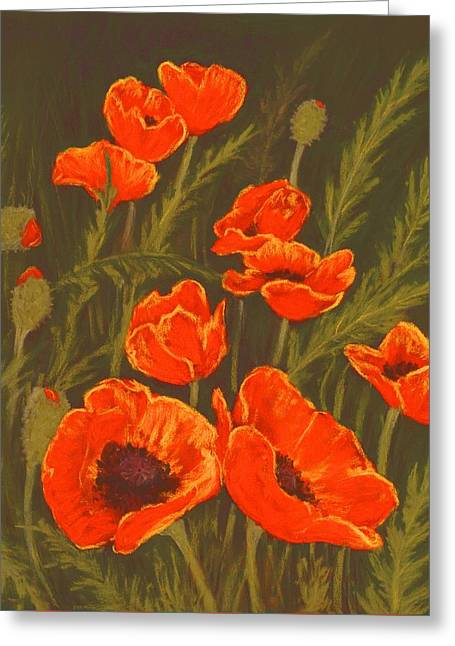Greeting Card featuring the painting Dream Of Poppies by Anastasiya Malakhova