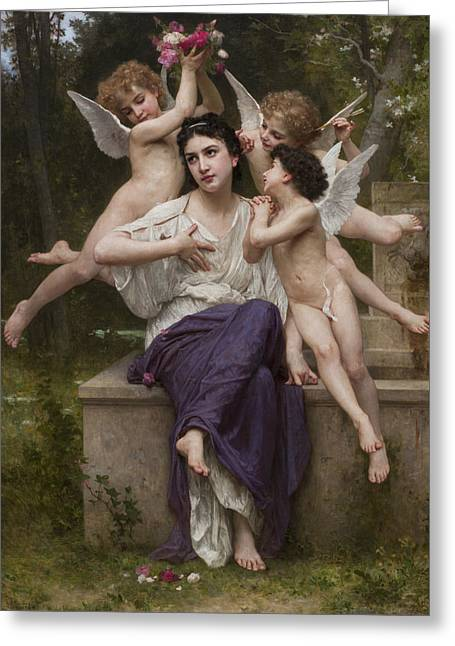 Dream Of Spring Greeting Card by William-Adolphe Bouguereau