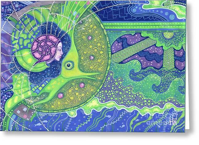 Dream Of The Fullmoon Greeting Card by Julia Khoroshikh
