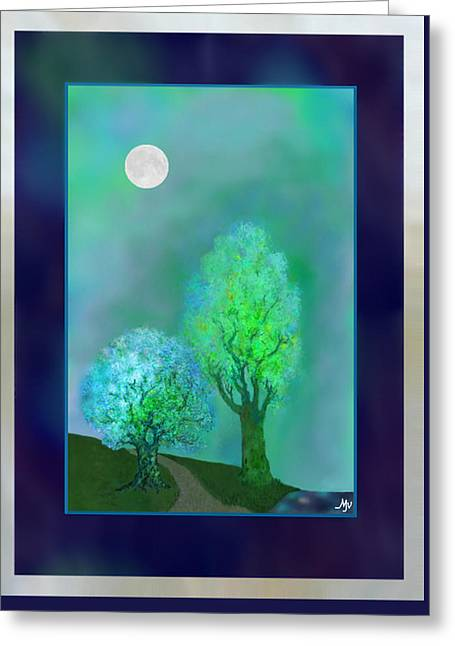 Dream Trees At Twilight With Borders Greeting Card