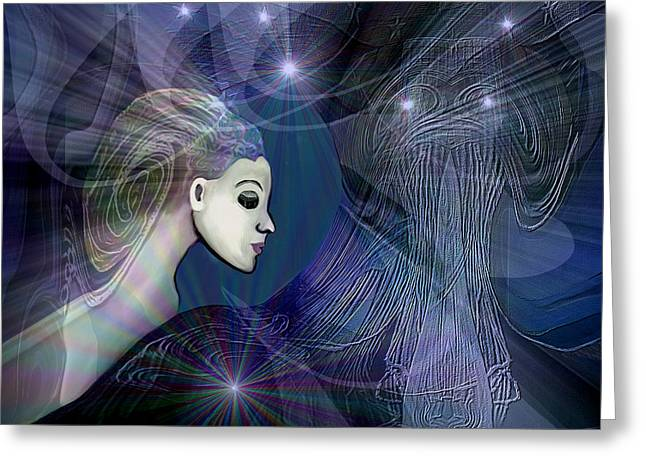 Greeting Card featuring the digital art 1101 - Dream Voyage - 2017 by Irmgard Schoendorf Welch
