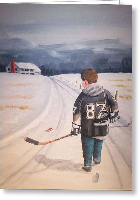 Youth Hockey Paintings Greeting Cards - Dream Walking - The kid Greeting Card by Ron  Genest
