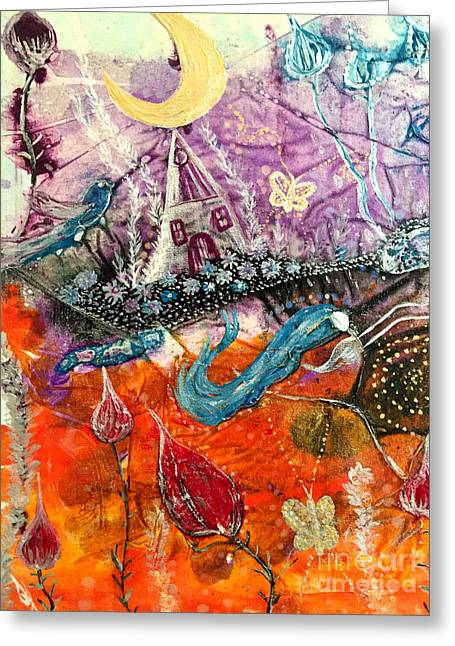 Greeting Card featuring the painting Dream Worlds by Julie Engelhardt