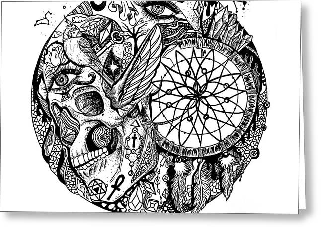 Dreamcatcher Circle Drawing No. 1 Greeting Card by Kenal Louis