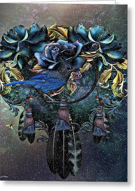 Dreamcatcher Winter Blues Greeting Card by G Berry