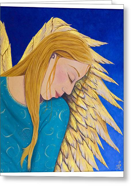 Dreaming Angel Greeting Card by Jacqueline Lovesey