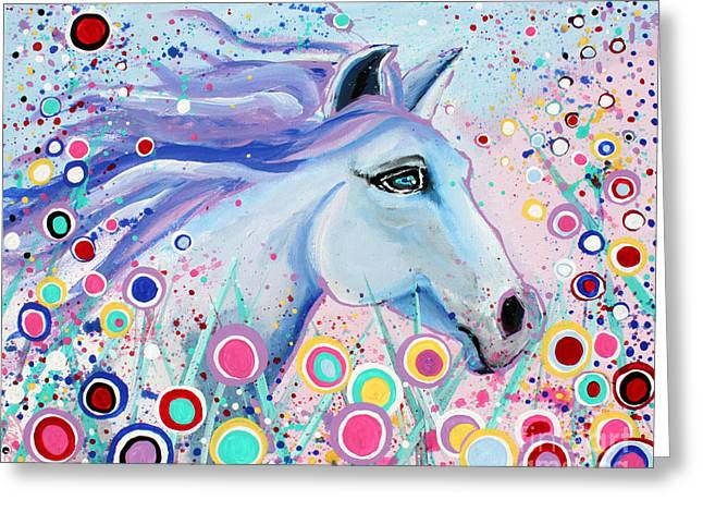 Dreaming In Color Whimsical Horse Art By Valentina Miletic Greeting Card by Valentina Miletic