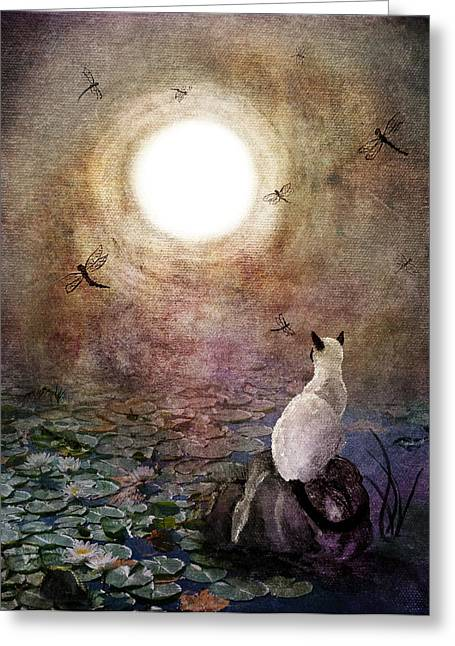 Surreal Cat Landscape Greeting Cards - Dreaming of a Koi Pond Greeting Card by Laura Iverson
