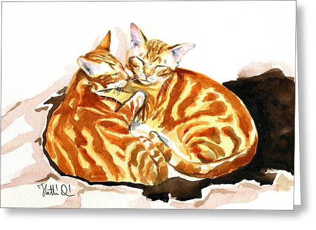 Dreaming Of Ginger - Orange Tabby Cat Painting Greeting Card