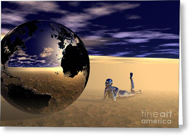 Dreaming Of Other Worlds Greeting Card by Sandra Bauser Digital Art