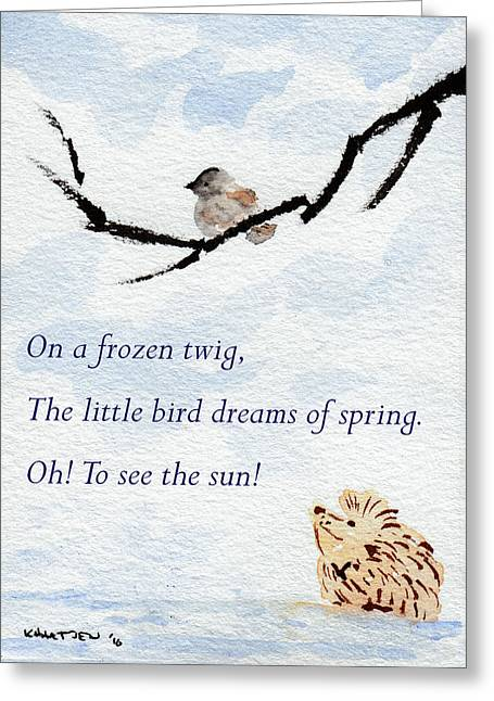Dreaming Of Spring - Hedgehog Haiku 5 Greeting Card by Kerry Hartjen
