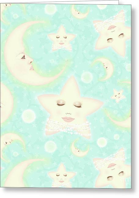 Dreaming Of The Moon And North Star Repeat Pattern Greeting Card