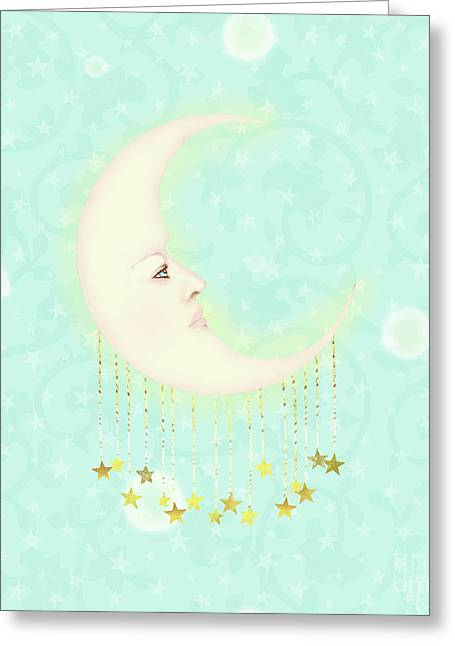 Dreaming Of The Moon Woman In The Moon Adorned With Golden Stars Greeting Card