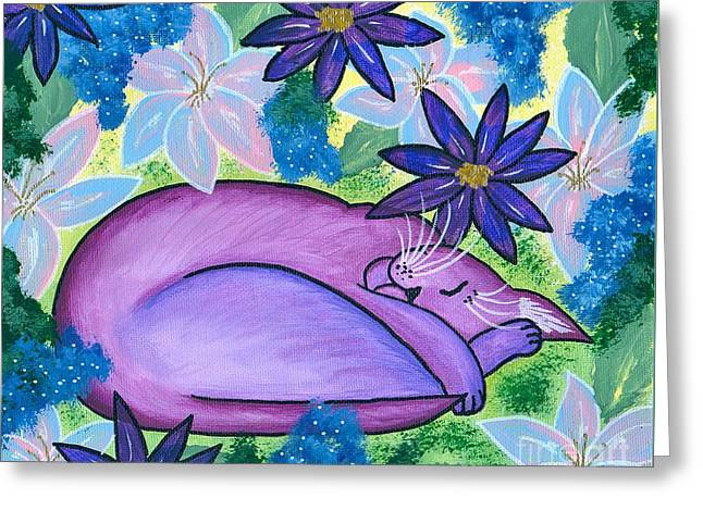 Dreaming Sleeping Purple Cat Greeting Card by Carrie Hawks