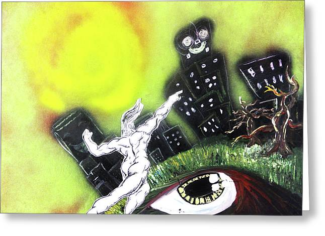 Greeting Card featuring the painting Dreaming Under The Sun by eVol i