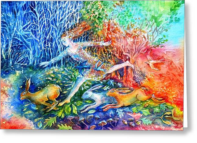 Dreaming With Hares Greeting Card