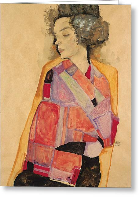 Dreaming Woman Greeting Card by Egon Schiele