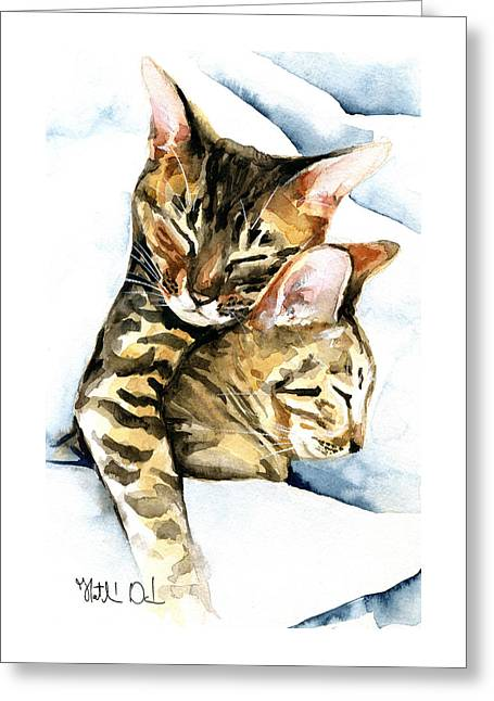 Dreamland - Bengal And Savannah Cat Painting Greeting Card