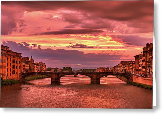Saint Trinity Bridge From Ponte Vecchio At Red Sunset In Florence, Italy Greeting Card