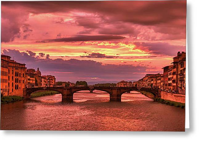 Dreamlike Sunset From Ponte Vecchio Greeting Card