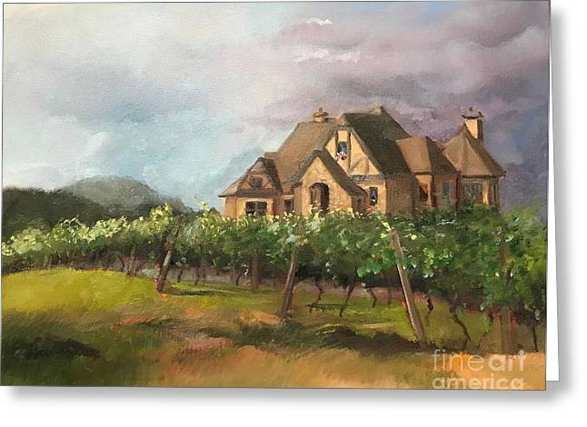 Greeting Card featuring the painting Dreams Come True - Chateau Meichtry Vineyard - Plein Air by Jan Dappen