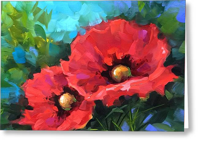 Dreams Of Flying Red Poppies Greeting Card by Nancy Medina