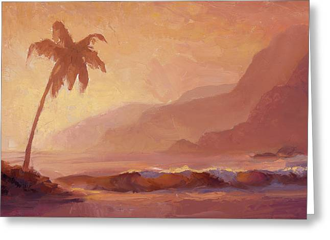 Greeting Card featuring the painting Dreams Of Hawaii - Tropical Beach Sunset Paradise Landscape Painting by Karen Whitworth