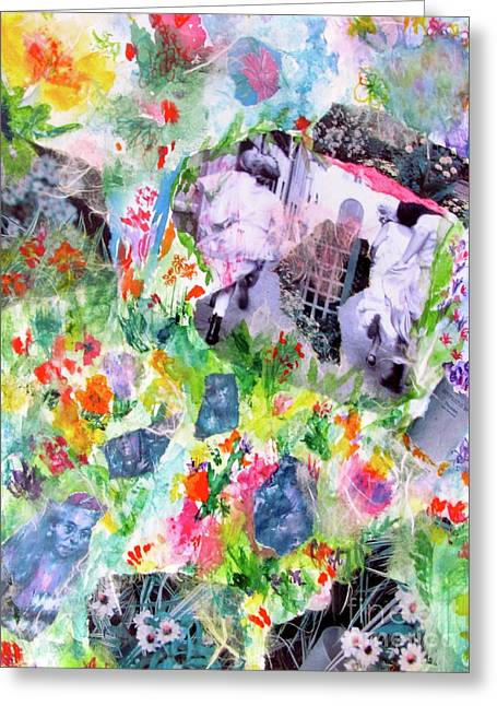 Greeting Card featuring the mixed media Dreams Of Love And Other Fateful Encounters by Beth Saffer