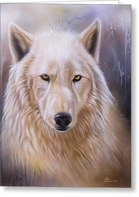 Arctic Wolf Greeting Cards - Dreamscape Wolf III Greeting Card by Sandi Baker
