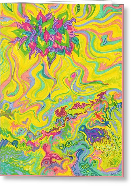 Dreamscaped Swamp-garden 1 Greeting Card by Julia Woodman