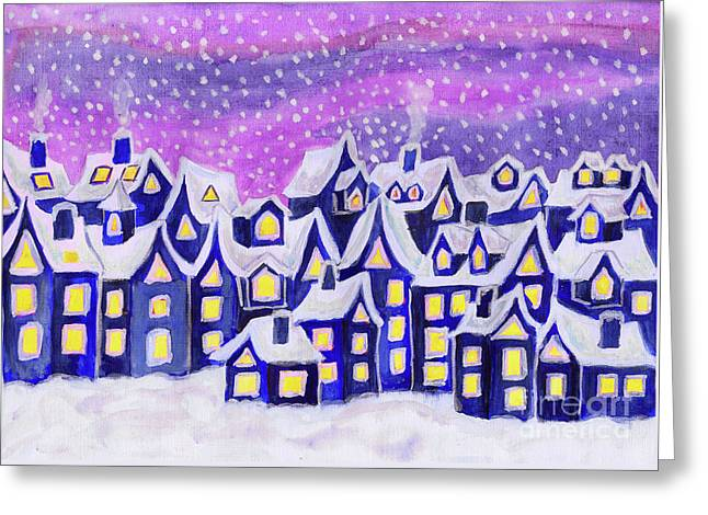 Dreamstown Blue, Painting Greeting Card