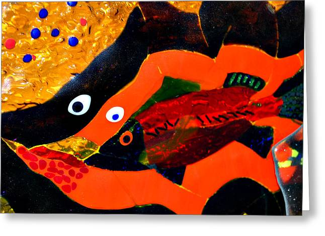 Australian Glass Art Greeting Cards - Dreamtime Barramundi detail Greeting Card by Sarah King